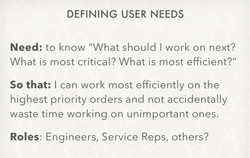 One of the user stories we tested
