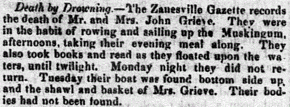 Newspaper article: Death by Drowning