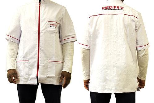 Homme / Arthur / blouse blanche / fermeture rouge / simple
