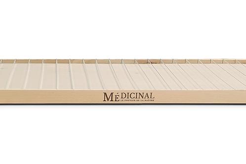 MEDICINAL Présentoir bois brut avec intérieur surélevé équipé de réglettes