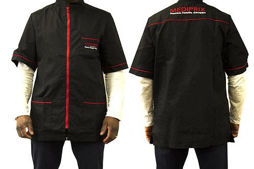 Homme / Arthur / blouse noire/ fermeture rouge / simple