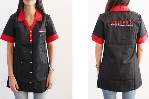 JODIE / Femme / blouse noire / colle rouge