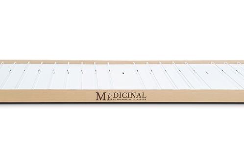 MEDICINAL. Présentoir meuble L90- bois & intérieur surélevé PS blanc + réglettes