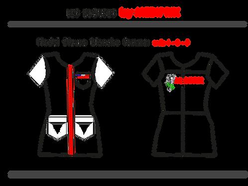 MASCOTTE / Femme / blouse blanche / fermeture rouge