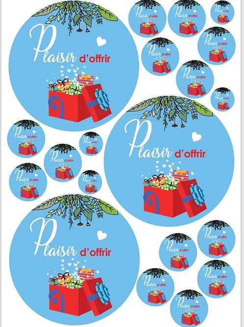 Lot de 10 planches A3 d'adhésifs macarons PLAISIR D'OFFRIR