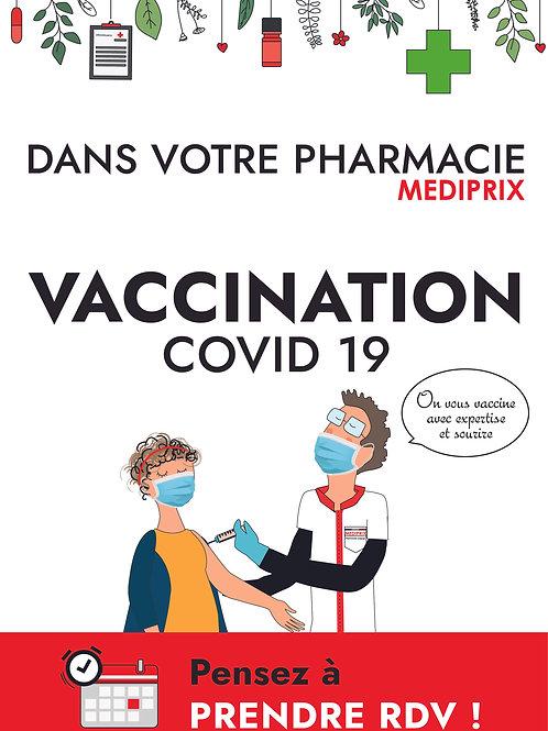 ADHÉSIF Vaccination L 100 cm X H140 cm. impression 48H