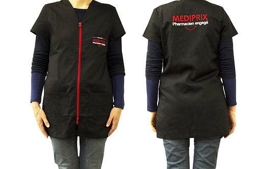 MEDIPRIX 1 blouse noire femme fermeture rouge nouvelle collection