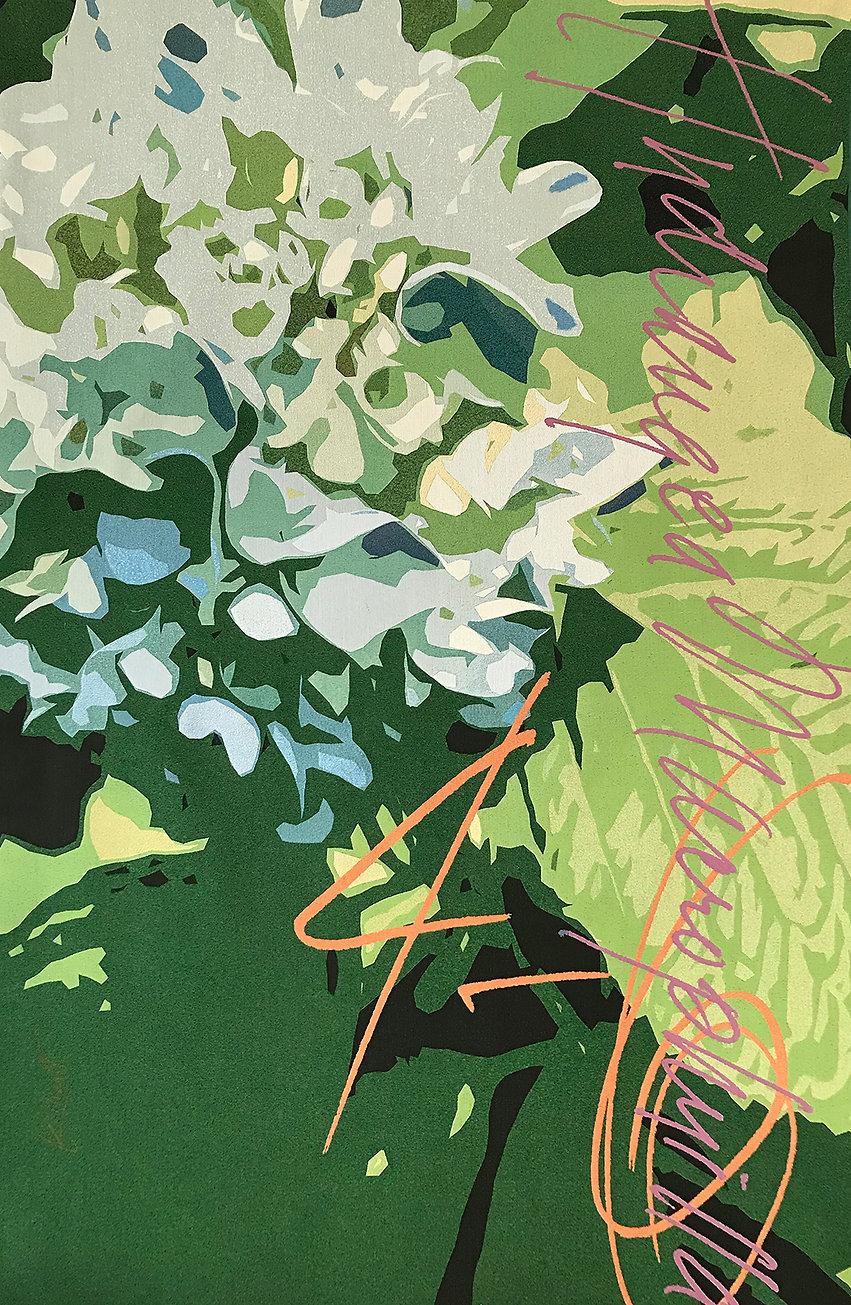 A digitally woven tapestry of a Hydrangea flower titled Hydrangea Macrophyilla Zones 4 - 6 by artist Krista Kilvert