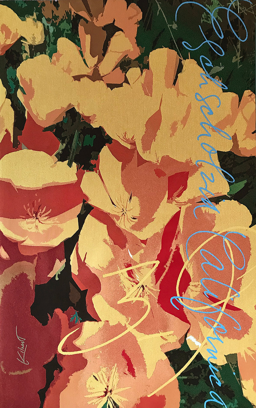 A digitally woven tapestry of California Poppies titled Eschscholzia Californica Zones 3 - 9 by artist Krista Kilvert