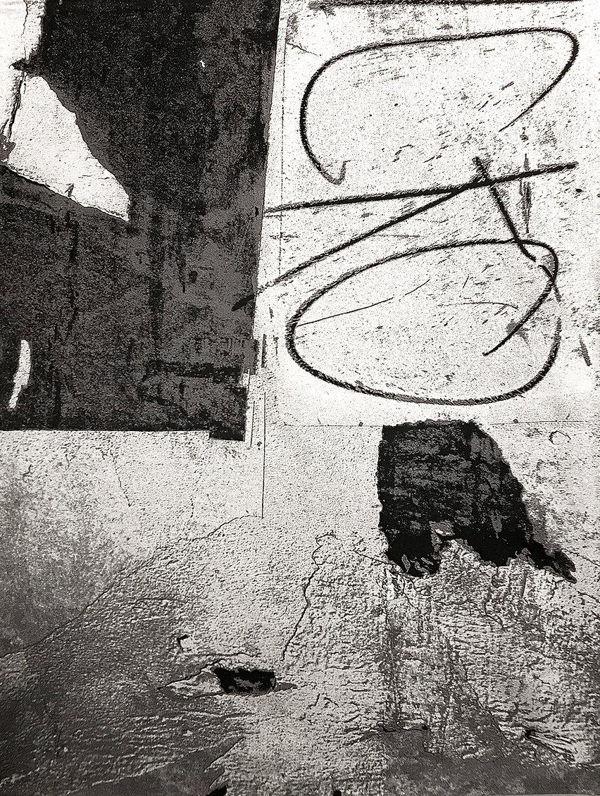A digitally woven tapestry titled Wabi Sabi Los Angeles - Black/White by artist Krista Kilvert