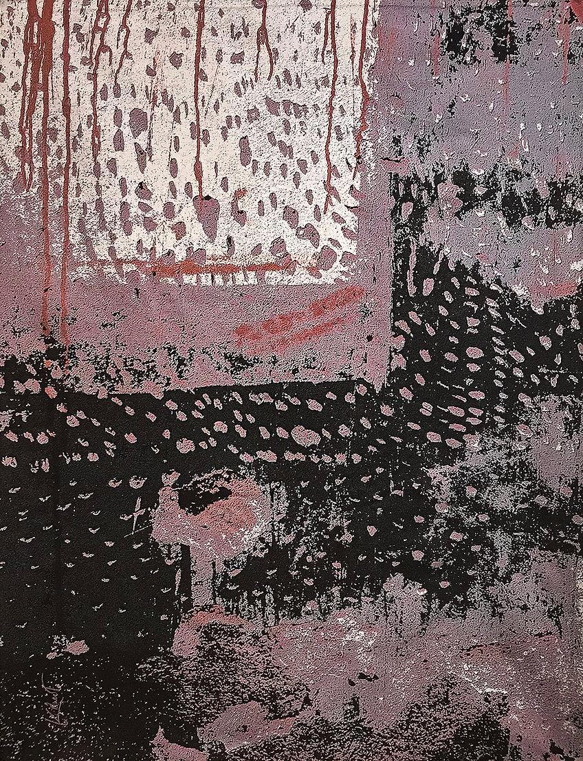 A digitally woven tapestry titled Wabi Sabi San Miguel de Allende - Prune by artist Krista Kilvert