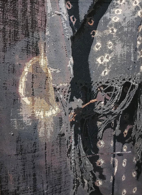 A digitally woven tapestry titled Wabi Sabi Osaka - Indigo by artist Krista Kilvert