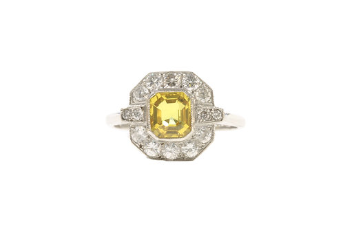 Yellow sapphire and diamond cluster ring