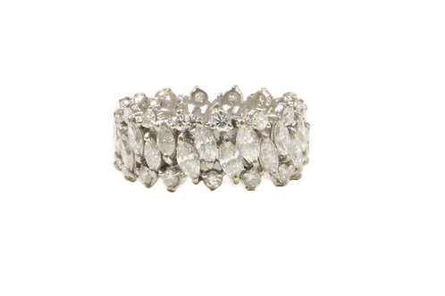 3.08ct Marquise and brilliant cut full eternity ring