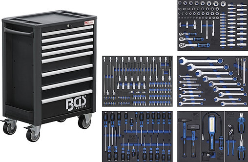 Werkstattwagen Profi Standard 8 Schubladen mit 234 Werkzeugen BGS-4113
