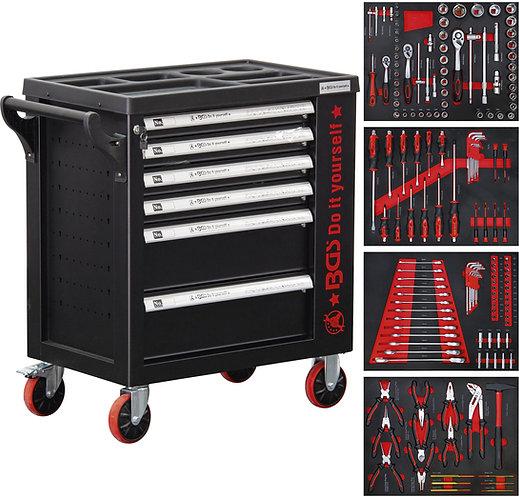 BGS Werkstattwagen 6 Schubladen 1 Seitentür mit 158 Werkzeugen BGS-6055