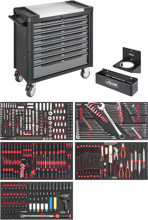 VIGOR Werkstattwagen XL Edelstahl-Arbeitsplatte V4481-X/466 Anzahl Werkzeuge:466
