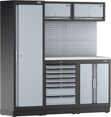 VIGOR Schrankwand-System V6000-3-X mit Edelstahl-Arbeitsplatte