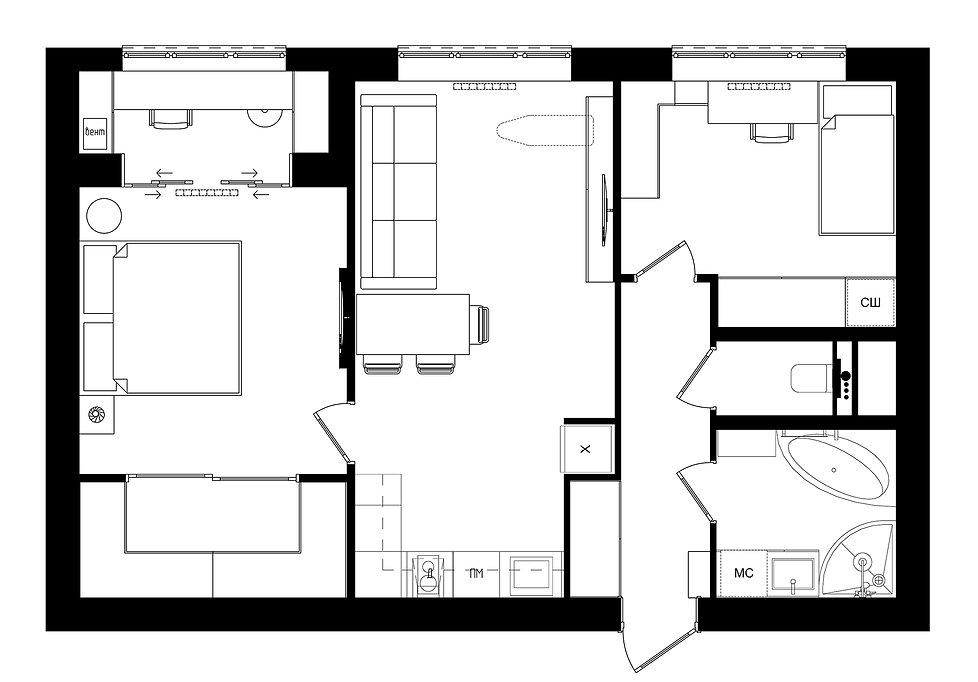План расположения мебели ЖК золотая Звез
