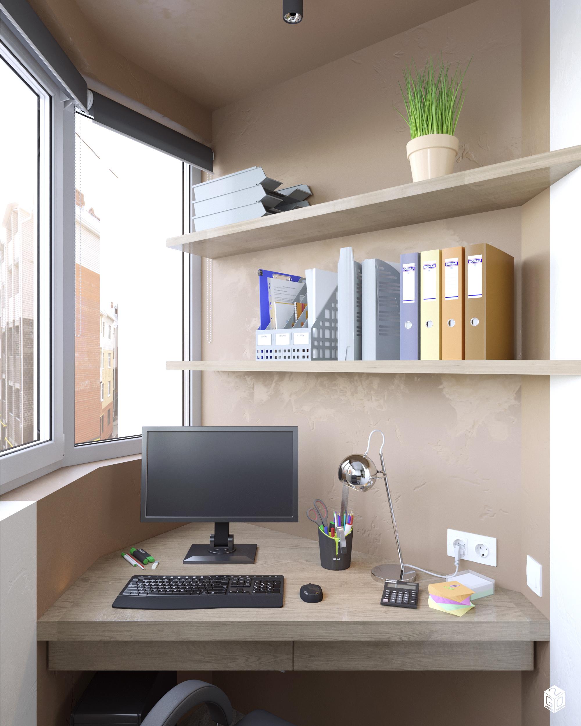 Лоджия - кабинет в современном стиле