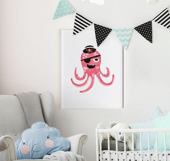 """Plakat dla dzieci """"Pirat Ośmiornica"""""""