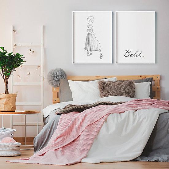 Plakat  baletnica w szkicu #7