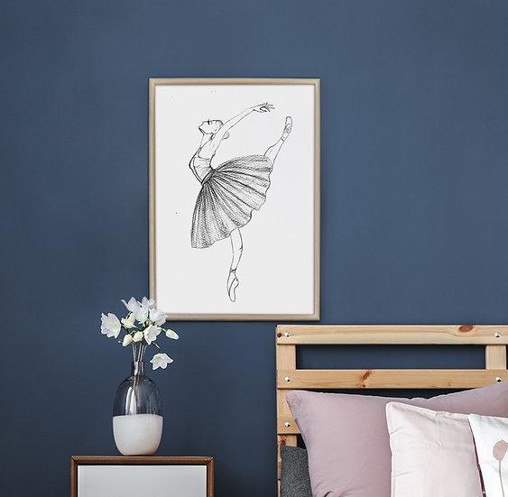 Plakat  baletnica w szkicu #1