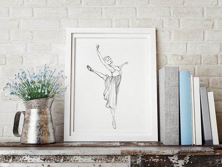 Plakat  baletnica w szkicu #5