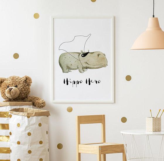 """Plakat dla dzieci z hipoptamem""""Hippo Hero"""""""