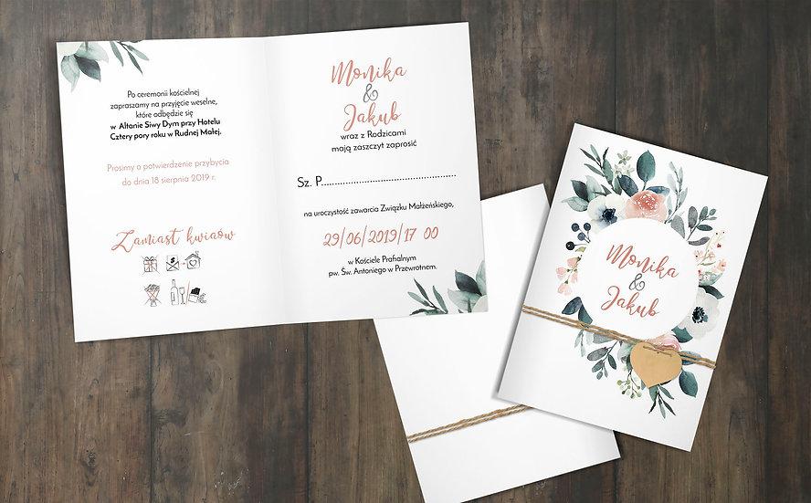 Składane zaproszenie ślubne z motywem kwiatowym
