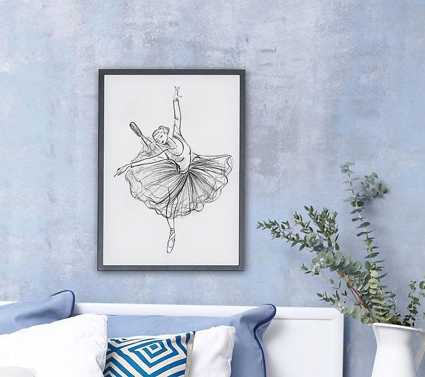 Plakat  baletnica w szkicu #3