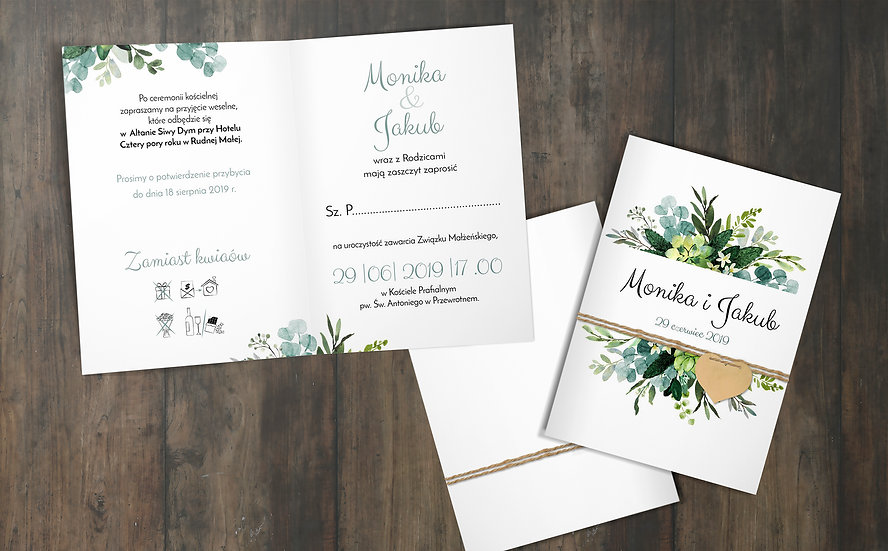 Składane zaproszenie ślubne eukaliptus #1