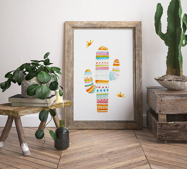 "Plakat ""Kolorowy Kaktus"""