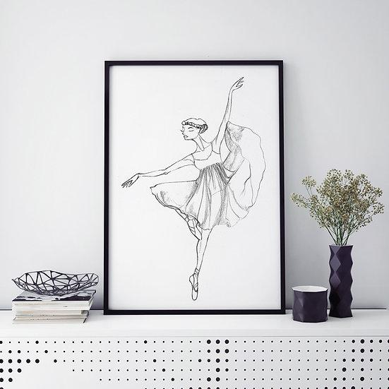 Plakat  baletnica w szkicu #4