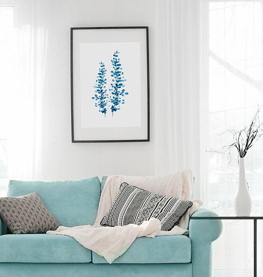 """Plakat botaniczny """"Niebieskie kwiatki"""""""