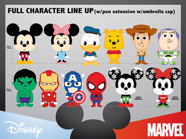 Disney / Pixar / Marvel Character Figurines with Pens