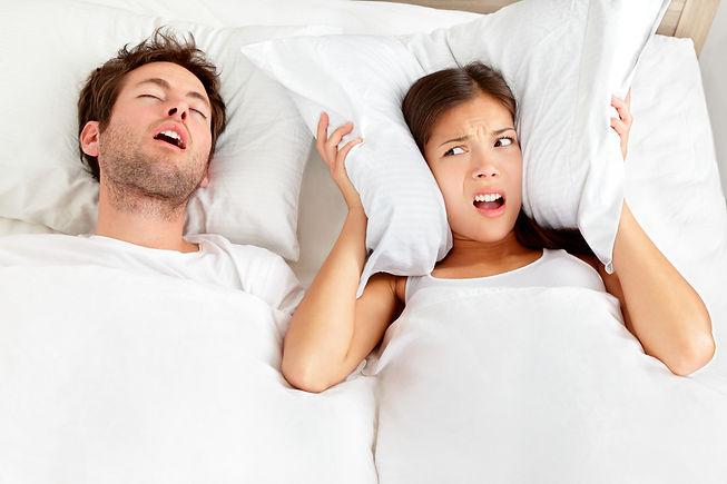 Snoring man. Couple in bed, man snoring