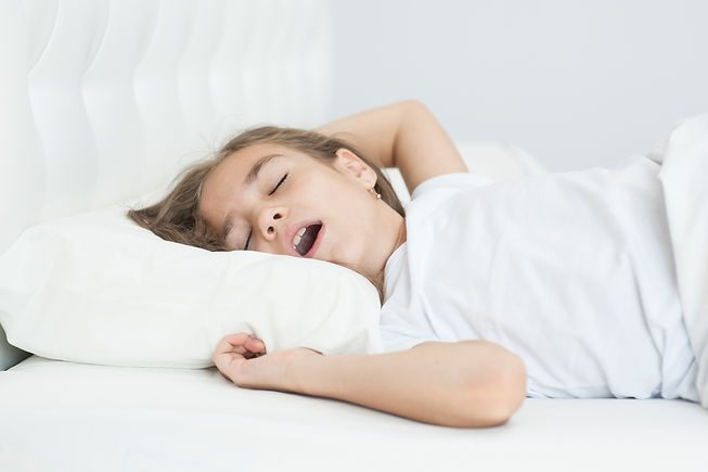 little girl sleeping with her mouth open