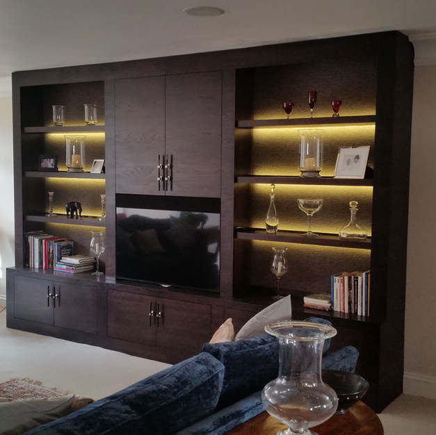 Ebony coloured oak media unit