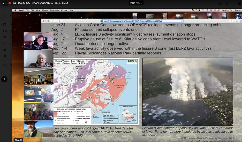 screenshot from Hawaii Volcanoes International Distance Learning Session