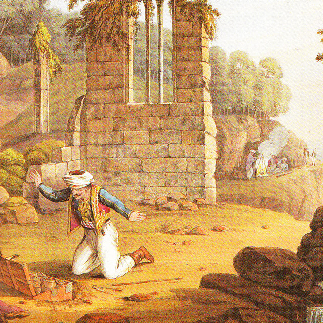 Ali Bey discovers the chest of treasure, aus: W.Davenport/G. Hunt Historical Portraiture of Leading Events in the Life of Ali Pasha, London 1823