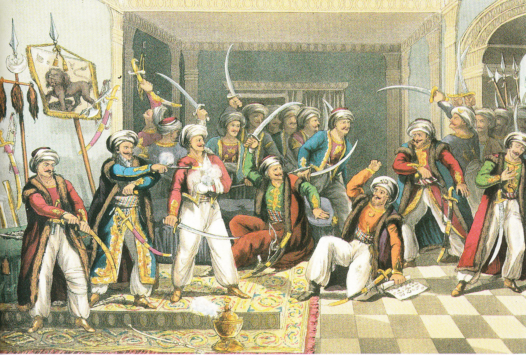Ali Pasha and his brave officers, aus: W.Davenport/G. Hunt Historical Portraiture of Leading Events in the Life of Ali Pasha, London 1823