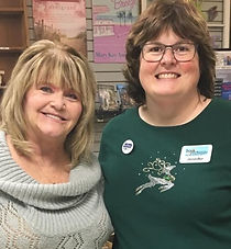 Donna, left, with Jennifer Gillman, the owner of The Book Exchange