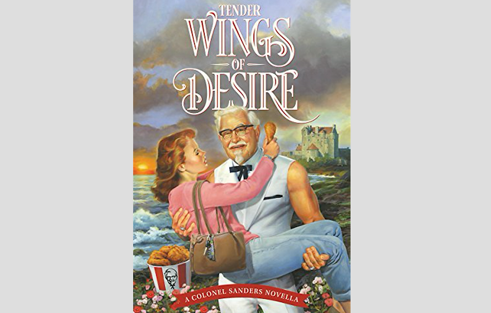 """Cuddling with the Colonel in KFC's """"Tender Wings of Desire"""" romance novella. This is a real promotion for Mother's Day with free Kindle downloads on Amazon."""
