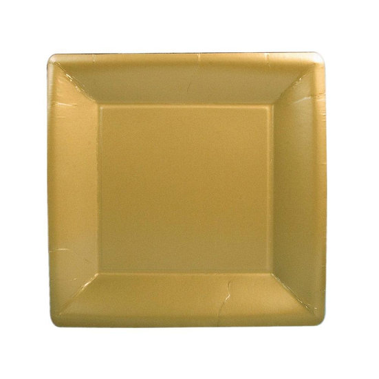 SOLID SQUARE PAPER SALAD AND DESSERT PLATES - GOLD