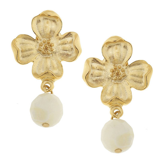 DOGWOOD FLOWER WITH MOTHER OF PEARL EARRINGS