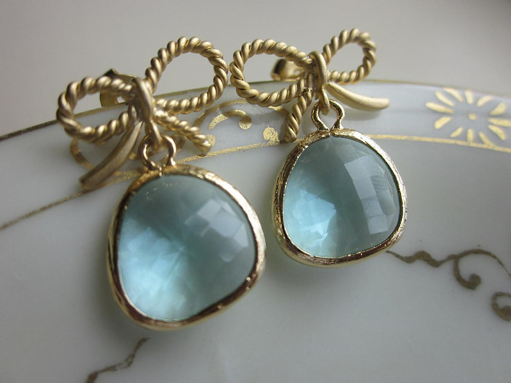 AQUAMARINE EARRINGS WITH GOLD BOW