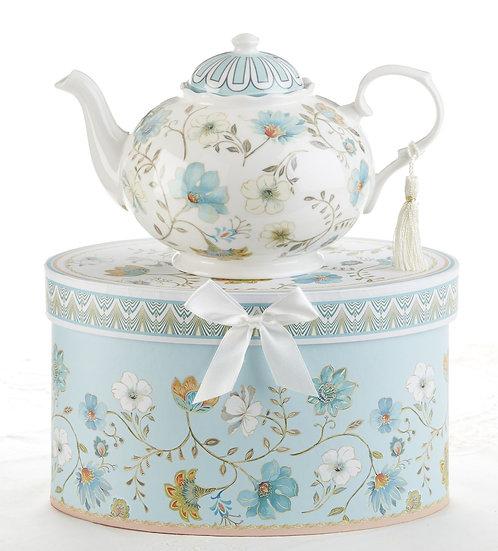PORCELAIN TEA POT IN GIFT BOX, BLUE ROMANCE