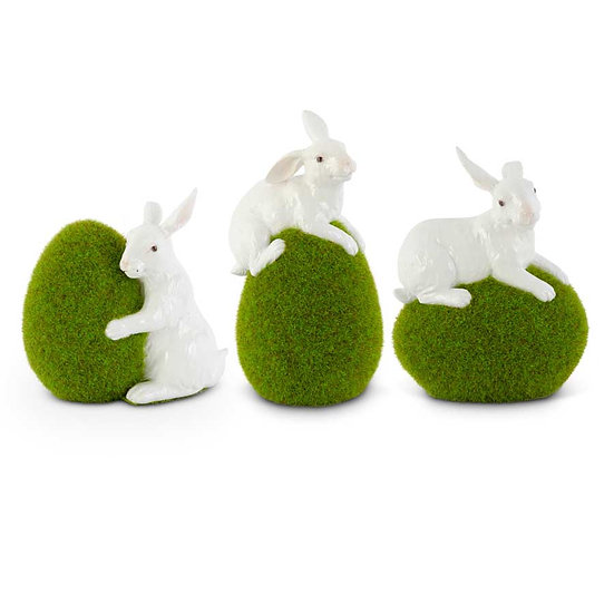 MOSS EGGS WITH GLOSSY WHITE RABBITS, SET OF 3