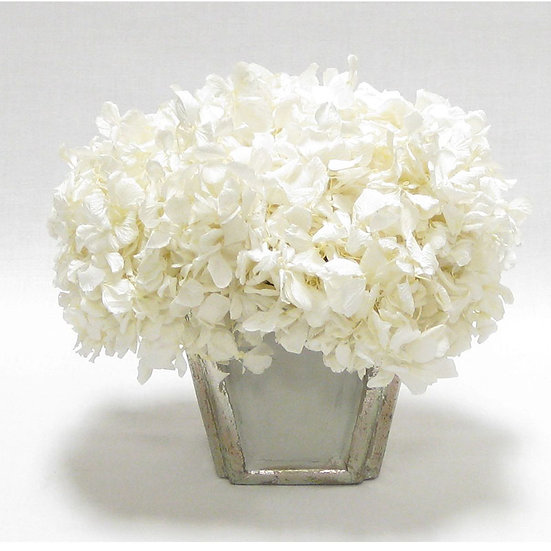 PRESERVED WHITE HYDRANGEA IN WOODEN CONTAINER